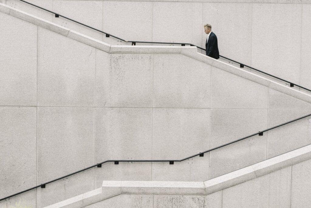 man walking on stair